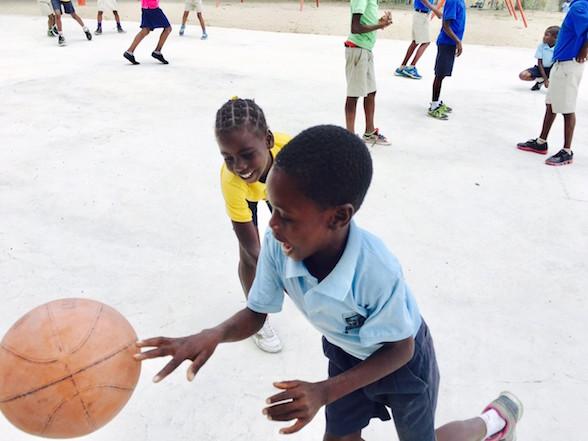 Pierrison playing basketball.