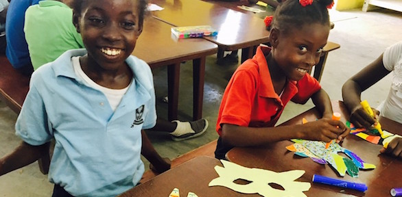 Creativity in action as Choix students design and make their Kanaval masques